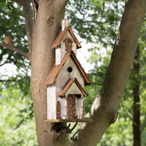 Glitzhome Extra-Large Rustic Wooden Outdoor Garden Birdhouse - White/Brown Perspective: left