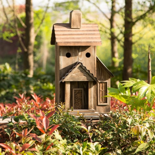 Glitzhome Extra-Large Rustic Natural Wood & Metal Birdhouse Perspective: left