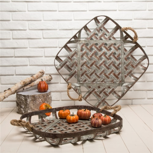 Glitzhome Galvanized Metal and Jute Rope Basket Pair Perspective: left
