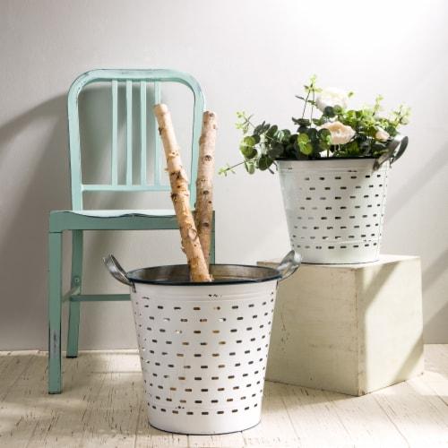 Glitzhome Farmhouse Enamel Metal Slotted Decorative Basket Planters - White Perspective: left