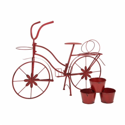 Glitzhome Metal Red Bicycle Shape Planter Perspective: left