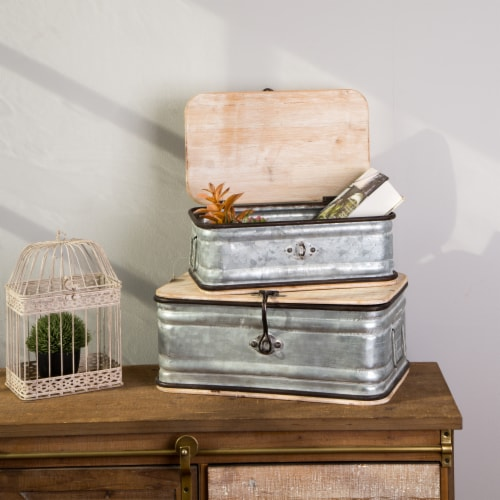 Glitzhome Rustic Farmhouse Galvanized Wood Metal Container Perspective: left