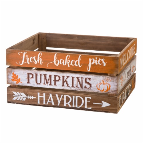 Glitzhome Wooden Pumpkin Crate - 2 Pack Perspective: left