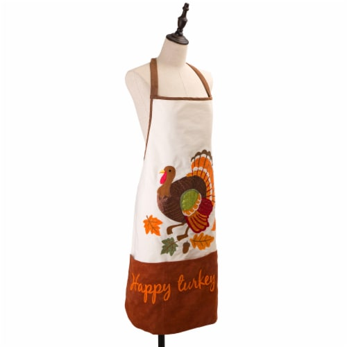 Glitzhome Cotton Embroidered Turkey Apron Perspective: left