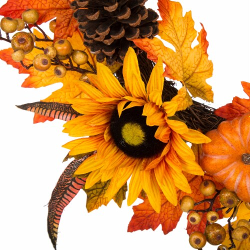 Glitzhome Sunflower Pumpkins & Pinecones Wreath Perspective: left