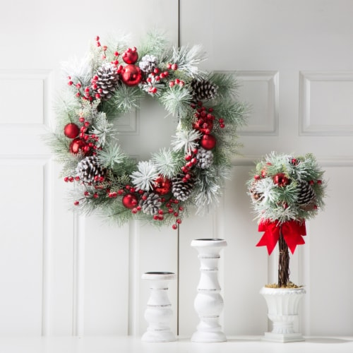 Glitzhome Flocked Pinecone and Ornament Wreath for Christmas Decor - Red Perspective: left