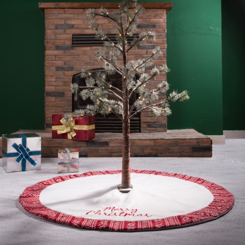 Glitzhome Fleece Merry Christmas Tree Skirt - White/Red Perspective: left