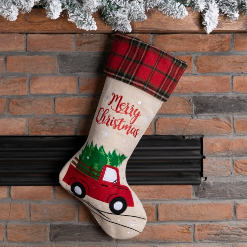 Glitzhome Embroidered Linen Red Truck Christmas Stocking Perspective: left