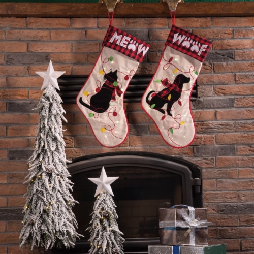 Glitzhome Emroidered Linen LED Light Up Cat Stocking Perspective: left