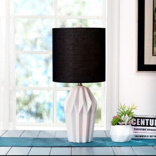 Glitzhome Matte Ceramic Table Lamp with Shade - White/Black Perspective: left