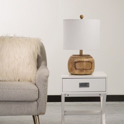 Glitzhome Rustic Farmhouse Polyresin Table Lamp with White Shade Perspective: left