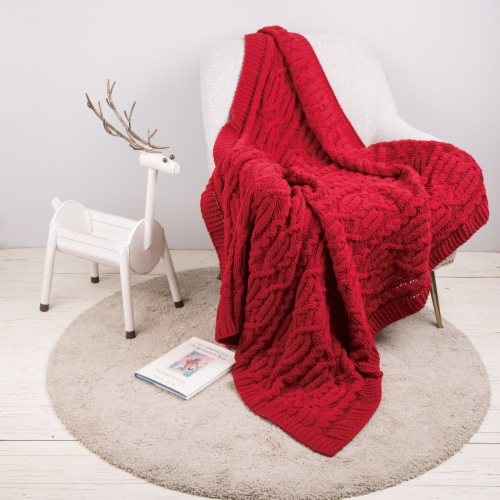 Glitzhome Knitted Chenille Fabric Throw Blanket - Red Perspective: left