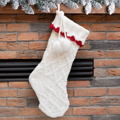 Glitzhome Kniited Polyester Stocking with Pompoms - White/Red Perspective: left