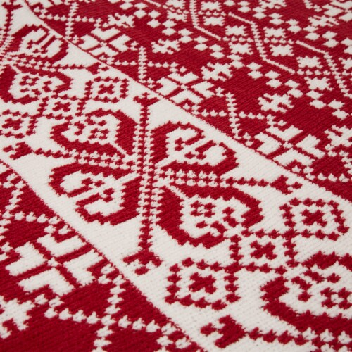 Glitzhome Knitted Snowflake Polyester Throw Blanket - Red/White Perspective: left
