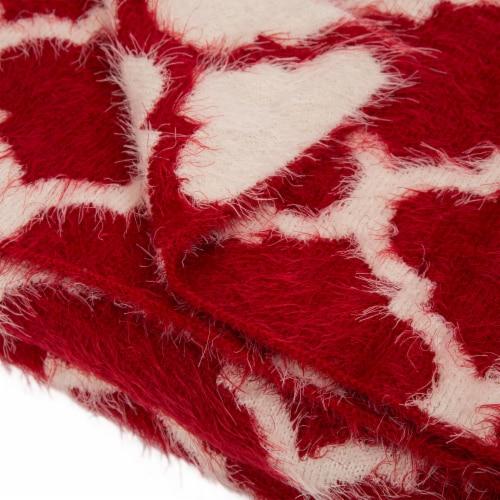 Glitzhome Reversible Knitted Nylon Eyelash Yarn Throw Blanket - Red/White Perspective: left