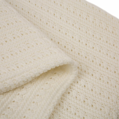 Glitzhome Classic Knitted Acrylic White Throw Blanket Perspective: left