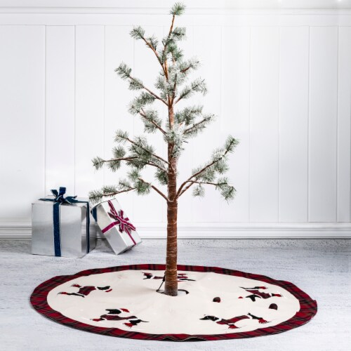 Glitzhome Dachshund Fabric Christmas Tree Skirt - Light Brown Perspective: left