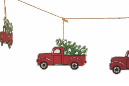 Glitzhome Metal Truck Garland Christmas Decor - Red Perspective: left