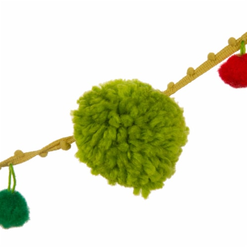Glitzhome Acrylic Pompom Garland Christmas Decor Perspective: left