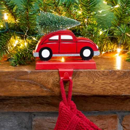 Glitzhome Weighted Car Christmas Stocking Holder - Red Perspective: left