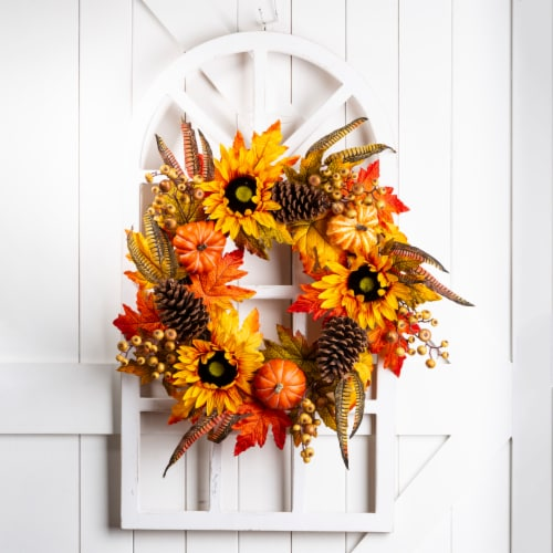Glitzhome Wooden Window Frame with Sunflower Wreath Perspective: left