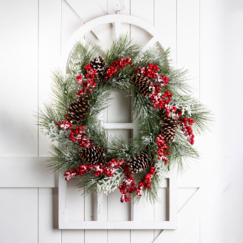 Glitzhome Flocked Pinecone & Berry Wreath Wooden Window Frame Perspective: left