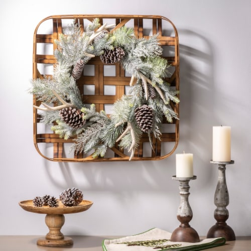 Glitzhome Bamboo Tobacco Basket with Flocked Pinecone & Antler Wreath - Green Perspective: left