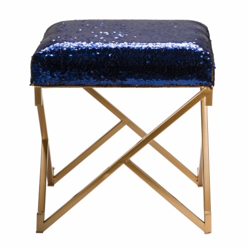 Glitzhome Shimmering Sequin Stool - Sapphire Blue / Metal Gold Perspective: left