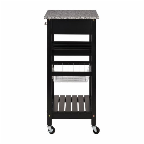 Glitzhome Rolling Kitchen Island with Marble Top - Black Perspective: left