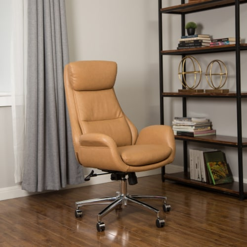 Glitzhome Mid-Century Modern Leatherette Gaslift Adjustable Swivel Office Chair - Camel Perspective: left