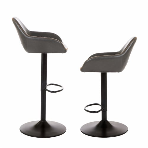 Glitzhome Mid-Century Leatherette Gaslift Adjustable Swivel Bar Stools - Modern Gray Perspective: left