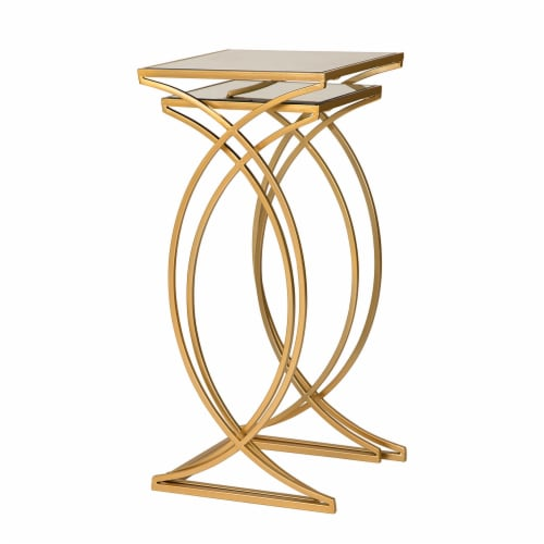 Glitzhome Square Metal with Glass Accent Table - 2 pk - Gold Perspective: left