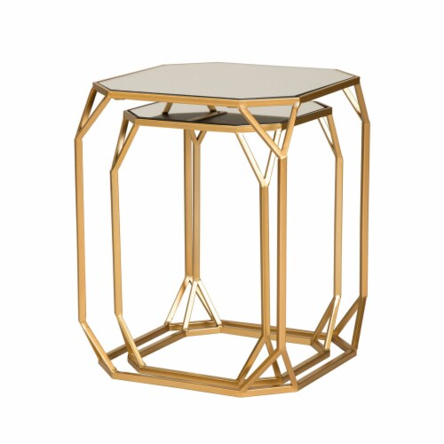 Glitzhome Metal with Glass Square Accent Table - Gold Perspective: left