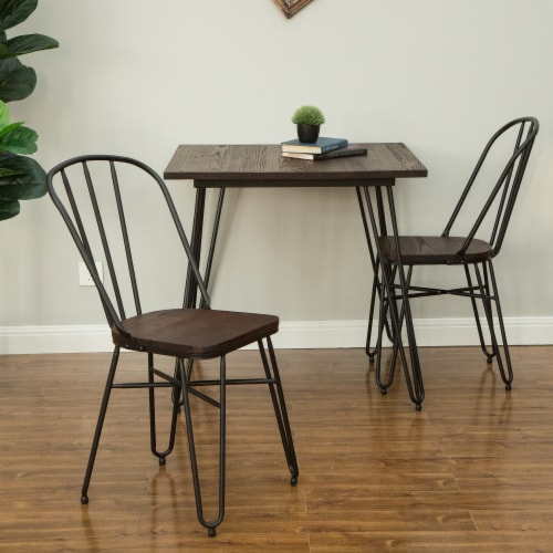 Glitzhome Industrial Steel Dining Chairs with Elm Wood Seat Perspective: left