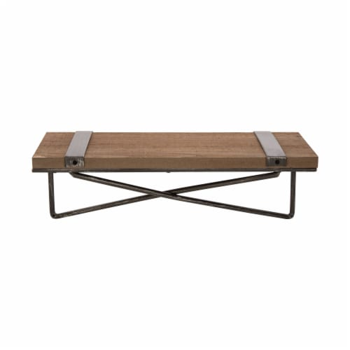Glitzhome Rustic Farmhouse Metal/Wooden Wall Shelves Perspective: left