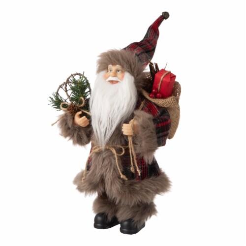 Glitzhome Faux Fur Plaid Santa Figurine Christmas Decor Perspective: left