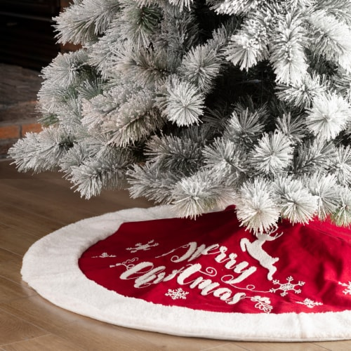 Glitzhome Fabric Merry Christmas Tree Skirt - Red/White Perspective: left