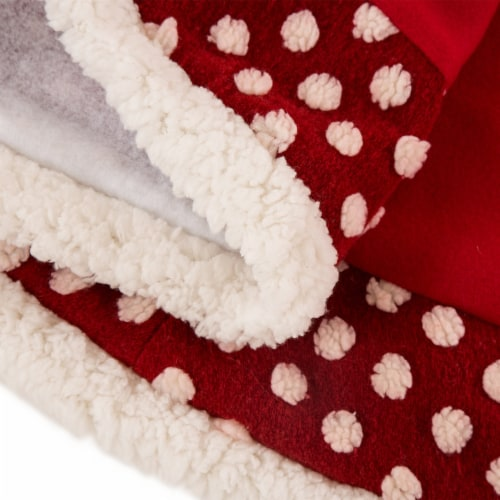 Glitzhome Fabric Pom Pom Christmas Tree Skirt - Red Perspective: left