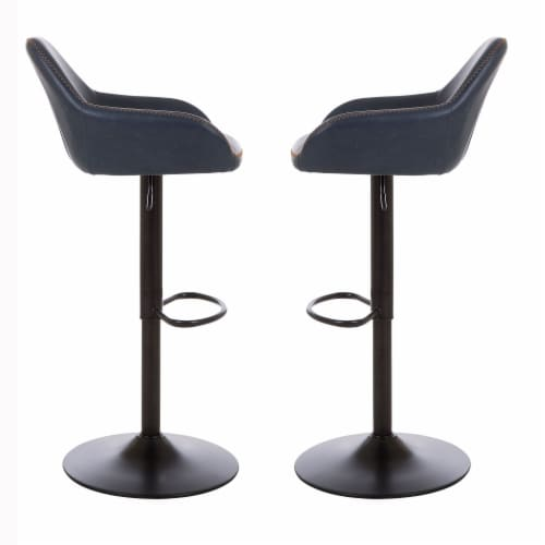 Glitzhome Mid-Century Modern Leatherette Gaslift Adjustable Swivel Bar Stools - Navy Blue Perspective: left