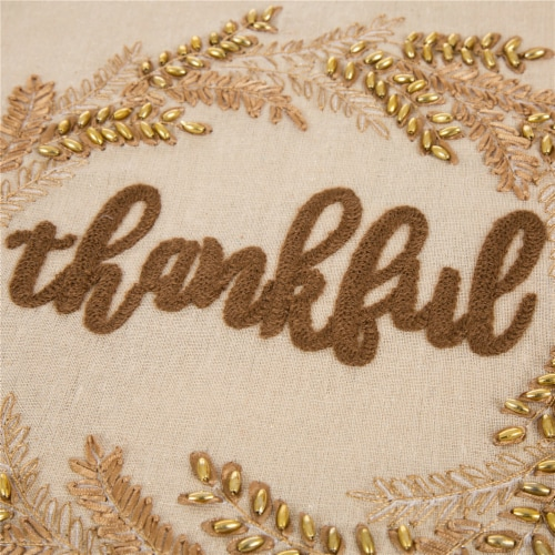 Glitzhome Embroidered Thankful Thanksgiving Table Runner Perspective: left