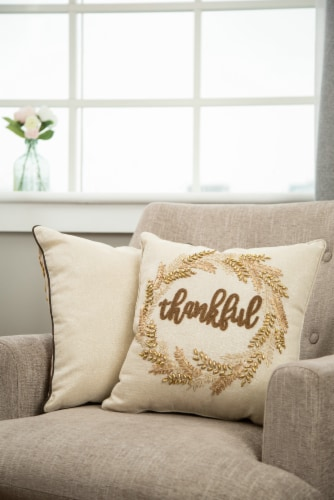Glitzhome Embroidered Thankful Pillow Perspective: left