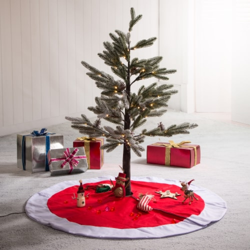Glitzhome Polyester Felt Christmas Tree Skirt - Red / White Perspective: left