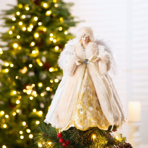Glitzhome Faux Fur 3D Standing Angel Figurine Tree Topper - Beige Perspective: left