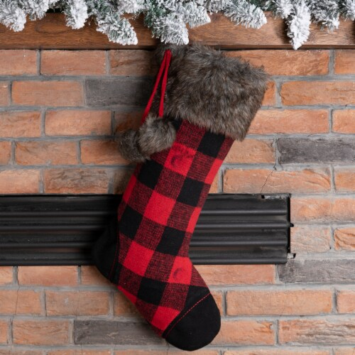 Glitzhome Buffalo Plaid Christmas Stocking - Black/Red Perspective: left