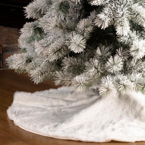 Glitzhome Plush Christmas Tree Skirt - White Perspective: left