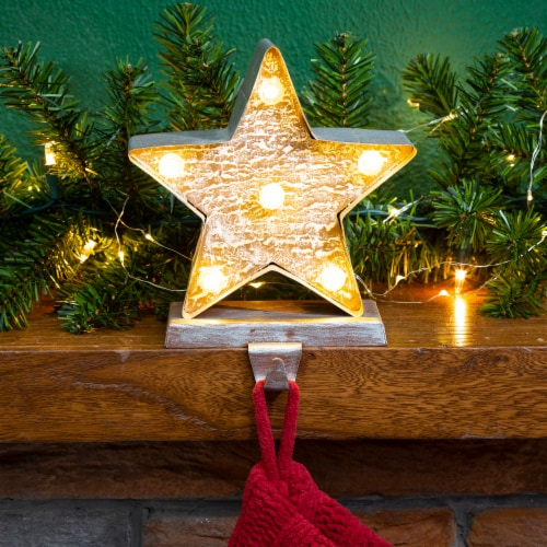 Glitzhome Marquee LED Star Christmas Stocking Holder Perspective: left