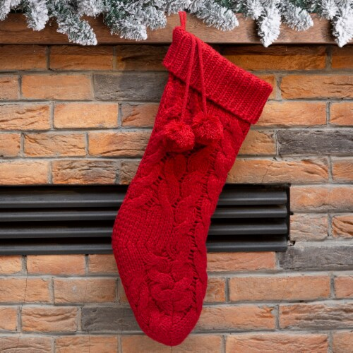 Glitzhome Knitted Polyester Christmas Stocking with Pompoms - Red Perspective: left