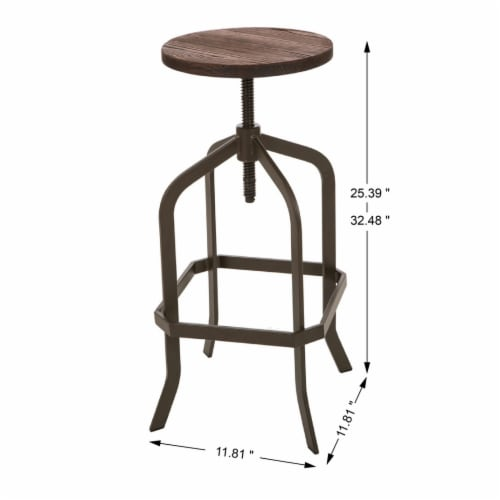 Glitzhome Rustic Steel Bar Table and Stools Set Perspective: left
