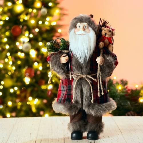 Glitzhome Faux Fur Plaid Santa Figurine Christmas Decoration Perspective: left