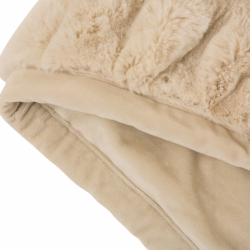 Glitzhome Thick Faux Fur Luxury Elastic Throw Blanket - Beige Perspective: left